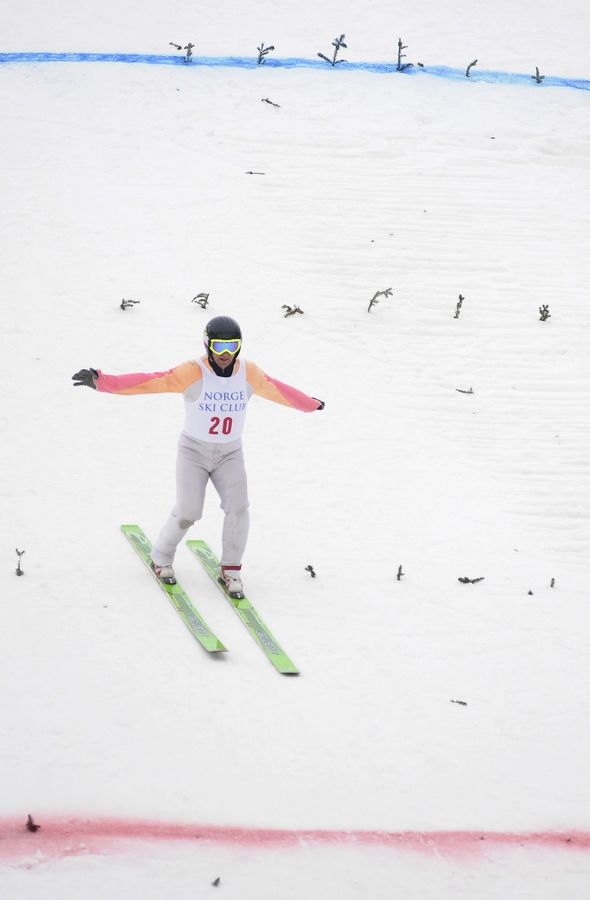 David Zarling of Minneapolis competes on the 70-meter hill Saturday at the Norge 110th Annual International Ski Jump Tournament in Fox River Grove.