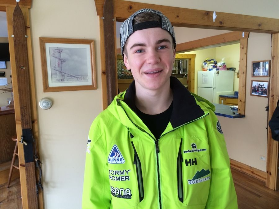 Casey Larson, 16, of Barrington, is getting ready Saturday to compete in the junior national qualifier during the 110th annual Winter Ski Jump Tournament at Norge Ski Club in Fox River Grove.