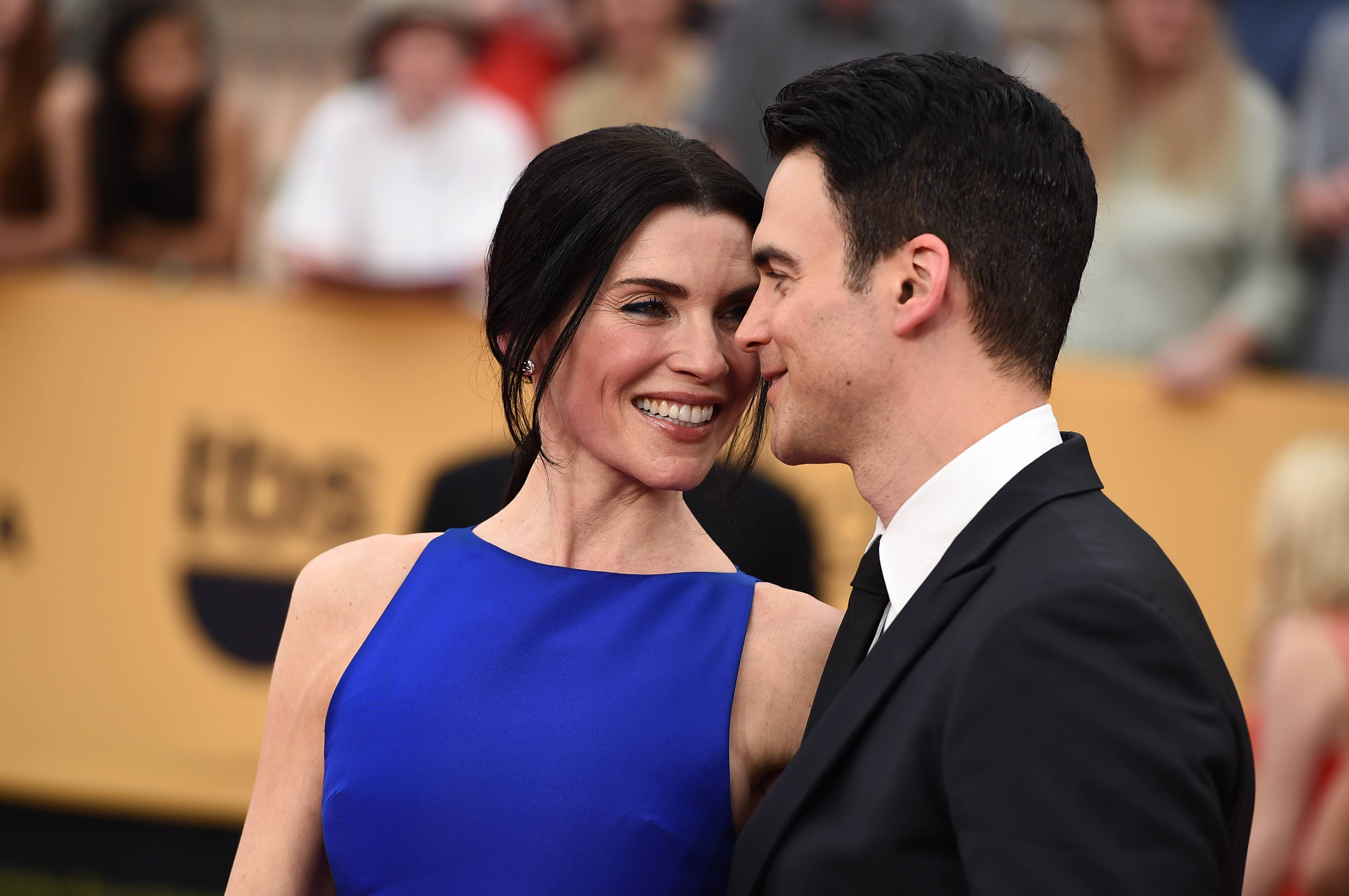 """The Good Wife"" star Julianna Margulies and her husband, Keith Lieberthal, arrive Sunday at the 21st annual Screen Actors Guild Awards at the Shrine Auditorium."