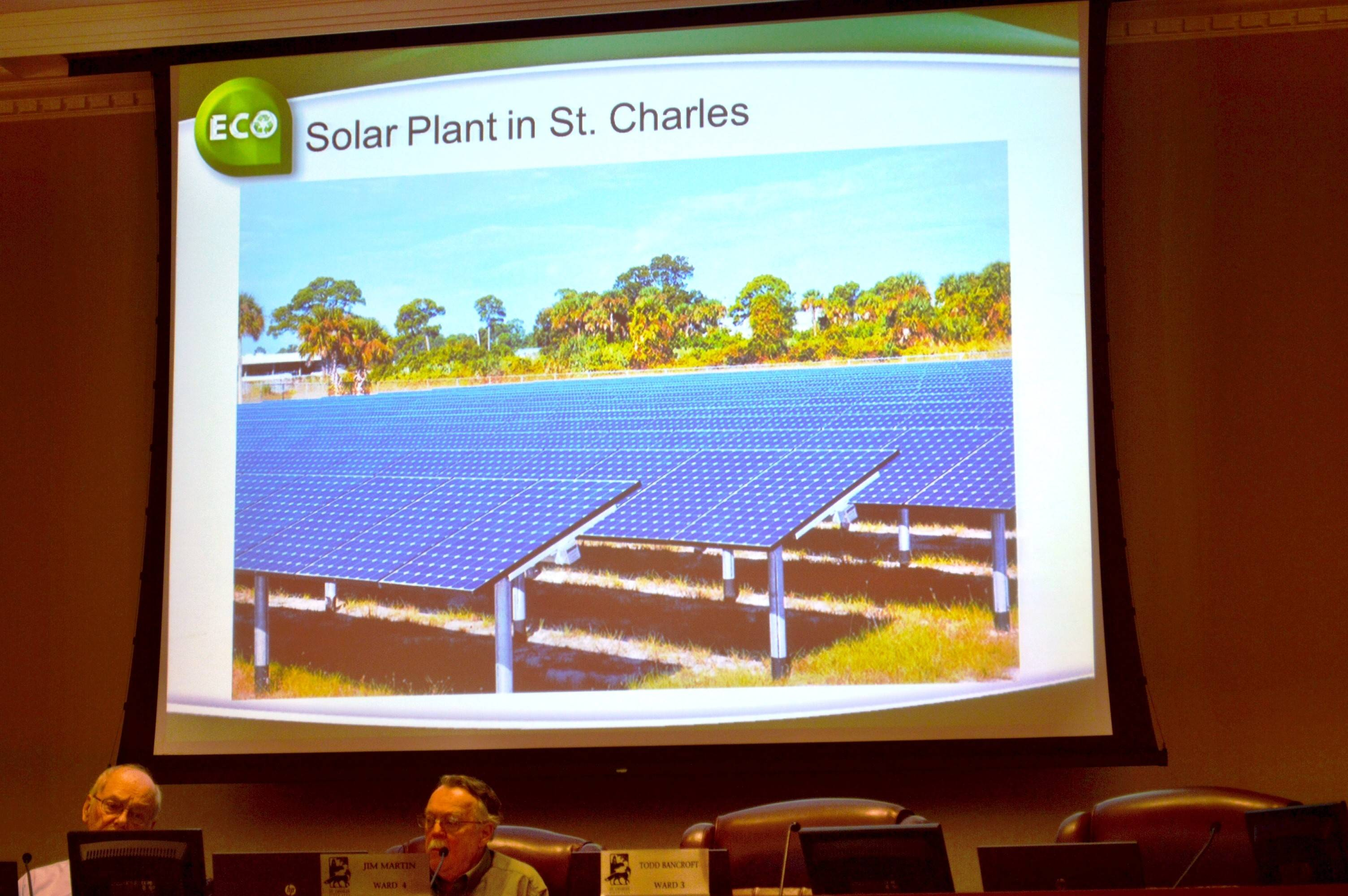 A photo of ground-mounted solar panels gave St. Charles aldermen an idea of what it might look like if city officials are successful in luring a solar plant to the city.