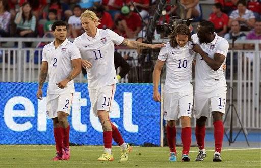 US midfielder Mix Diskerud celebrates scoring during the ...