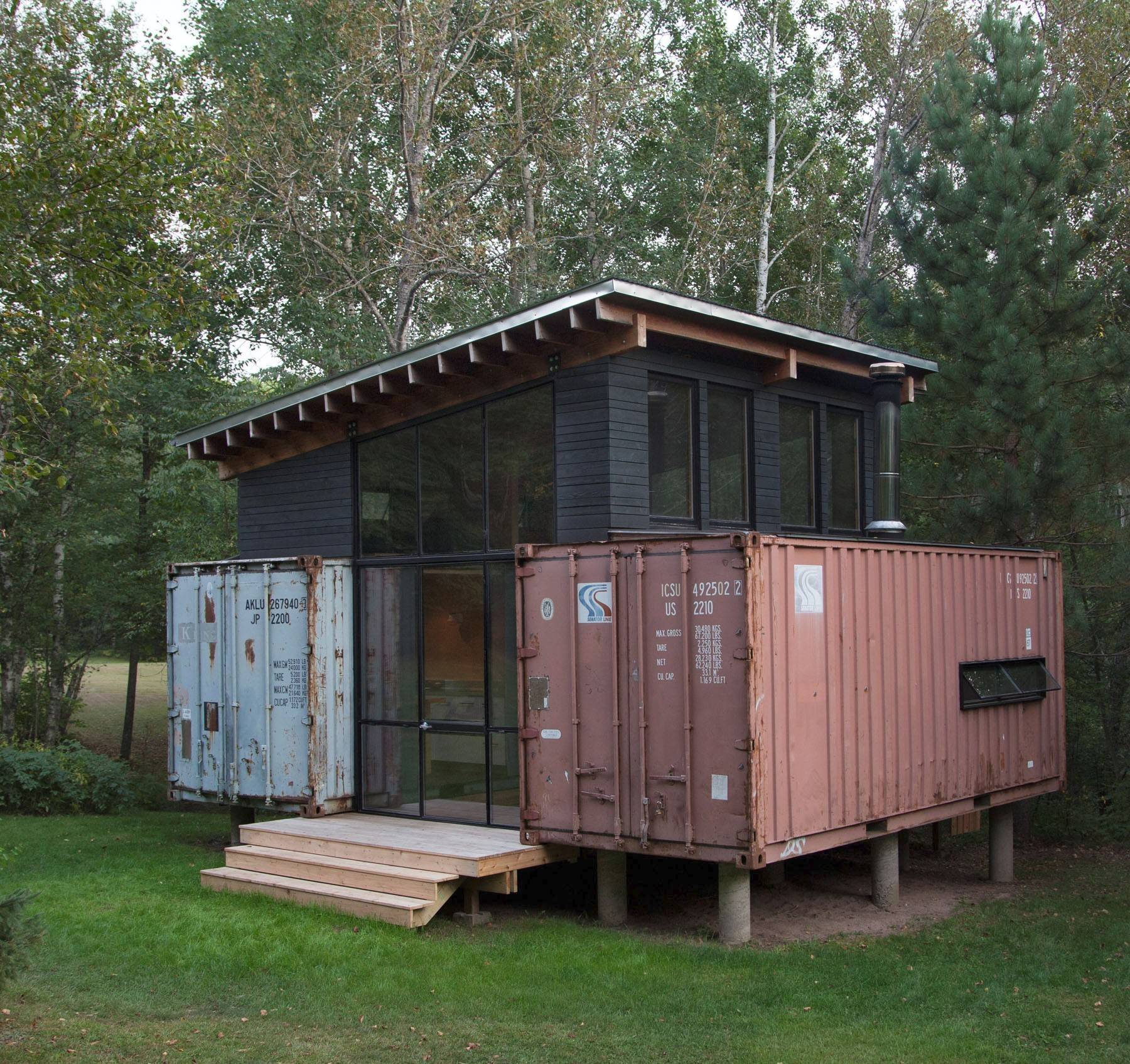 Brothers Paul and Scott Stankey chose the humble shipping container to replace a decrepit trailer on family vacation property two hours north of Minneapolis.