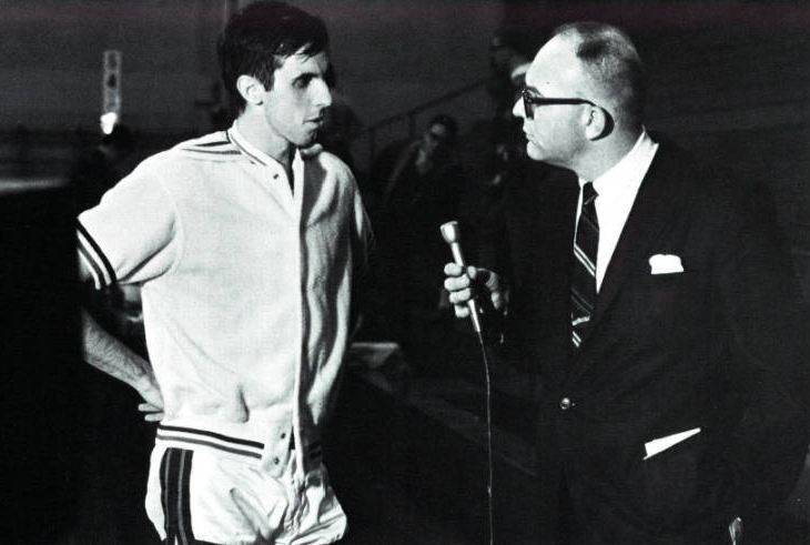 Team captain Mike Norris, left, being interviewed during the 1967 DePaul University basketball season.