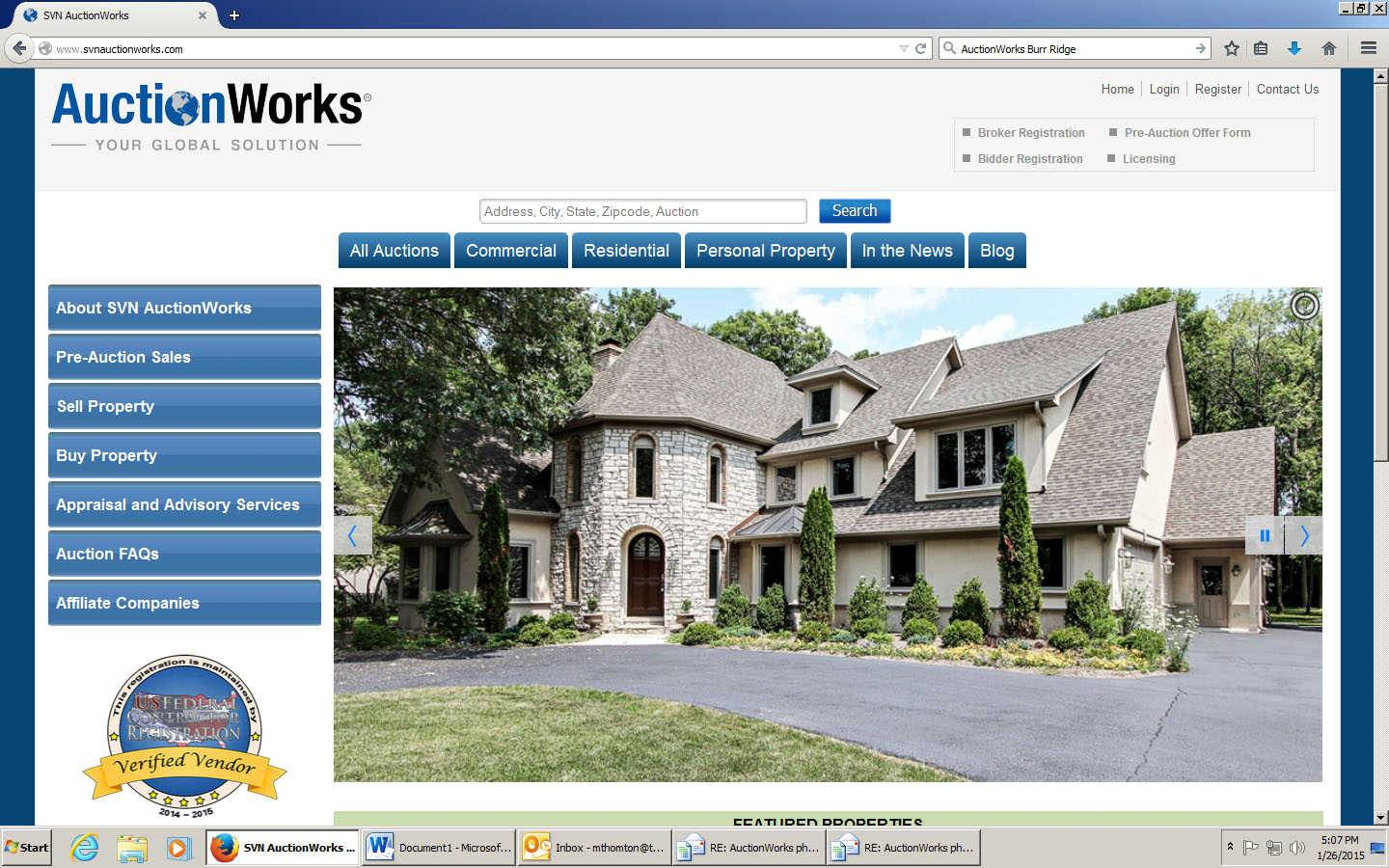SVNAuctionWorks.com offers online auctions for residential and commercial properties. But the site's president, Diana M. Peterson of Glencoe, says the auctions for luxury homes in Naperville, Riverwoods, Burr Ridge and other suburbs attract the most attention.