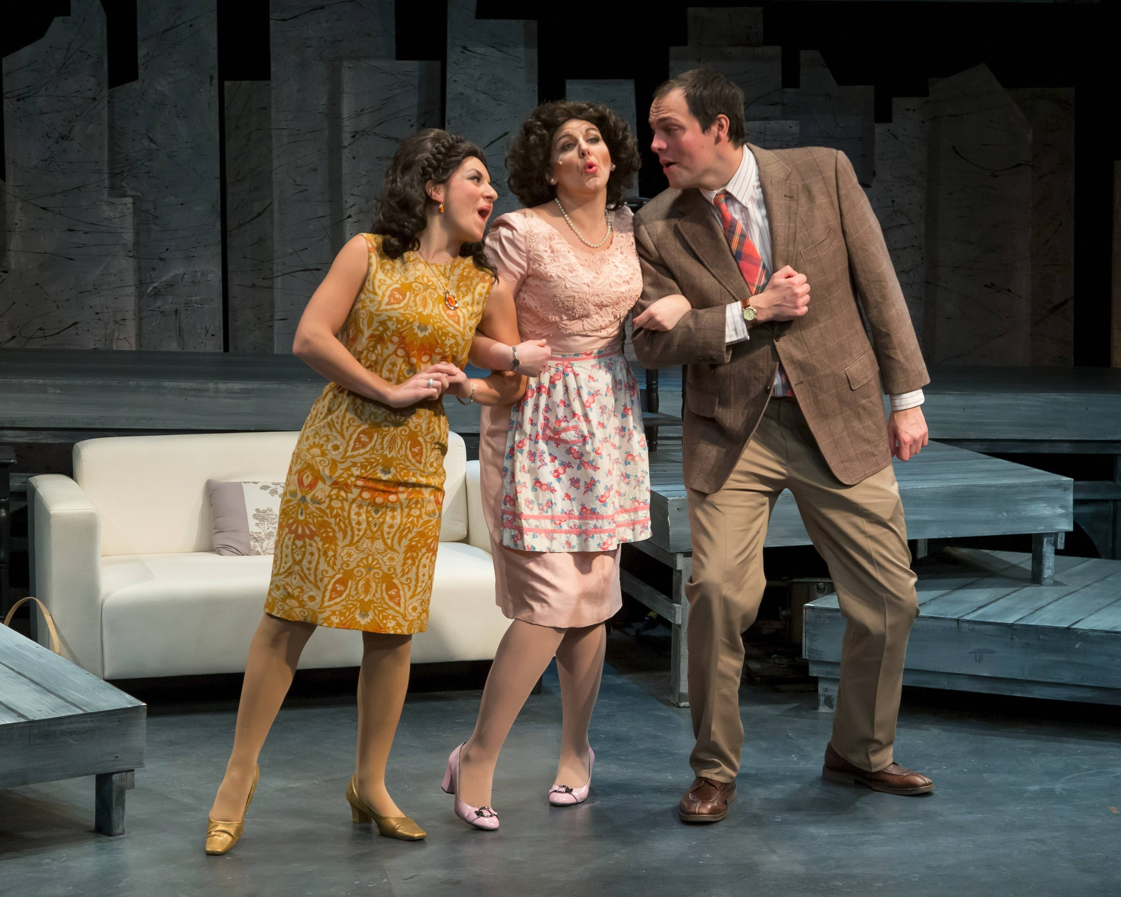 "Sarah Stone (Kellie Cundiff), left, and Detective Morris Brummell (Christopher Davis), right, do their best to impress his mother, Flora (Carol Rose Durkin) in Fox Valley Repertory's production of the 1996 off-Broadway murder musical comedy ""No Way to Treat a Lady."""