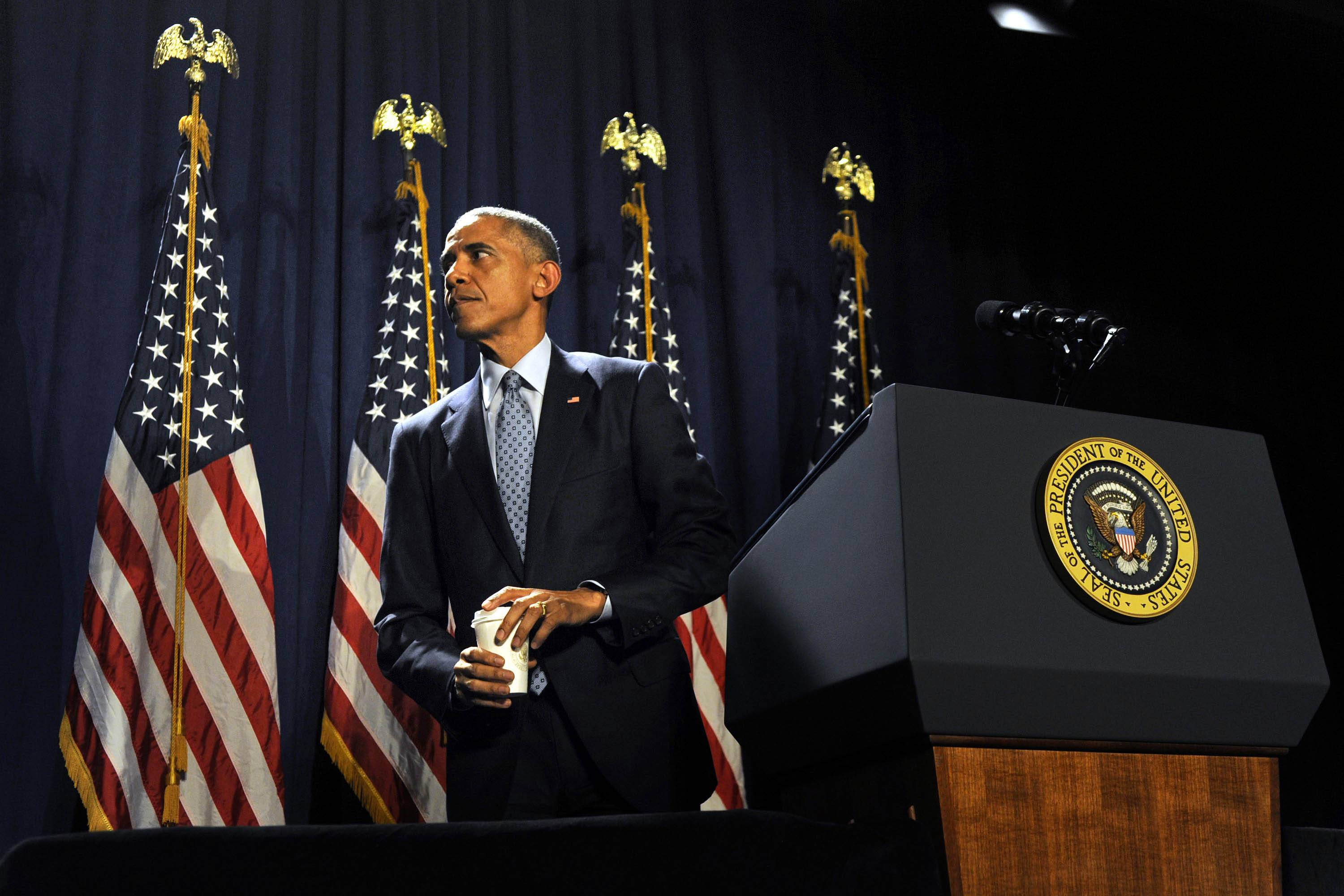 President Barack Obama addresses House Democrats Thursday in Philadelphia.