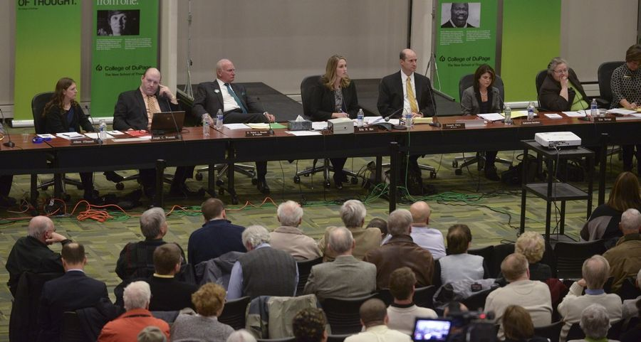 Hundreds of people attended the meeting at College of DuPage where the college's board approved a buyout package for President Robert Breuder. Now candidates seeking election to the board are weighing in on the deal.