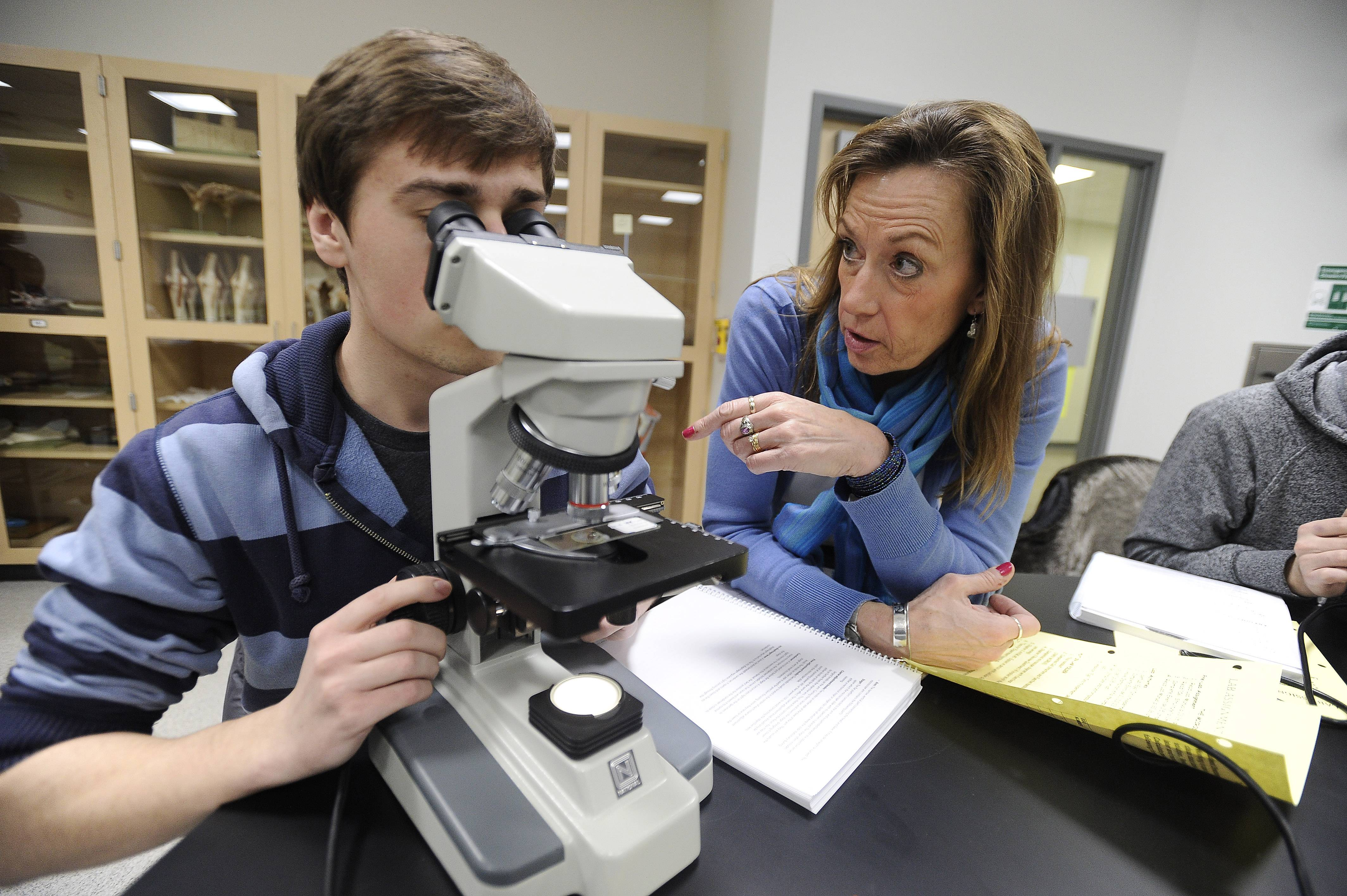 Oakton Biology Professor Kristi Zenchak instructs student Pawel Wiech of Des Plaines during an anatomy and physiology class this week at the new Science and Health Careers Center in Des Plaines.