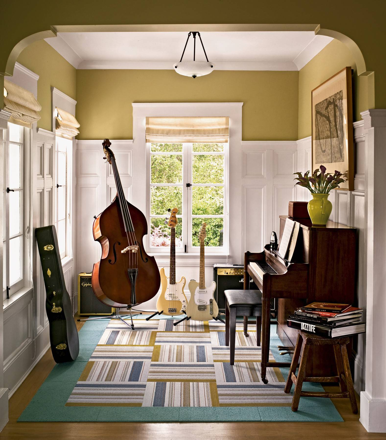 In older homes, space often must be repurposed. This front parlor was made into a music room.