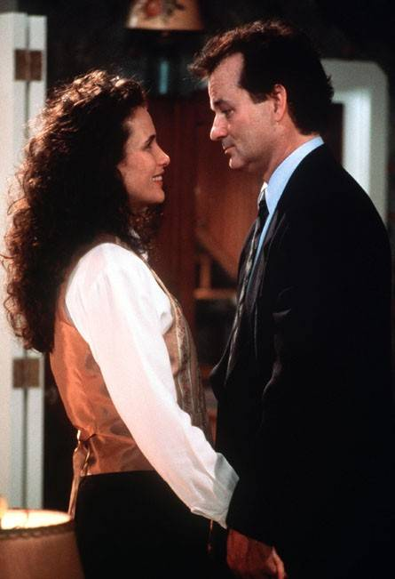 "Andie MacDowell, at left, and Bill Murray star in the 1993 film ""Groundhog Day."""