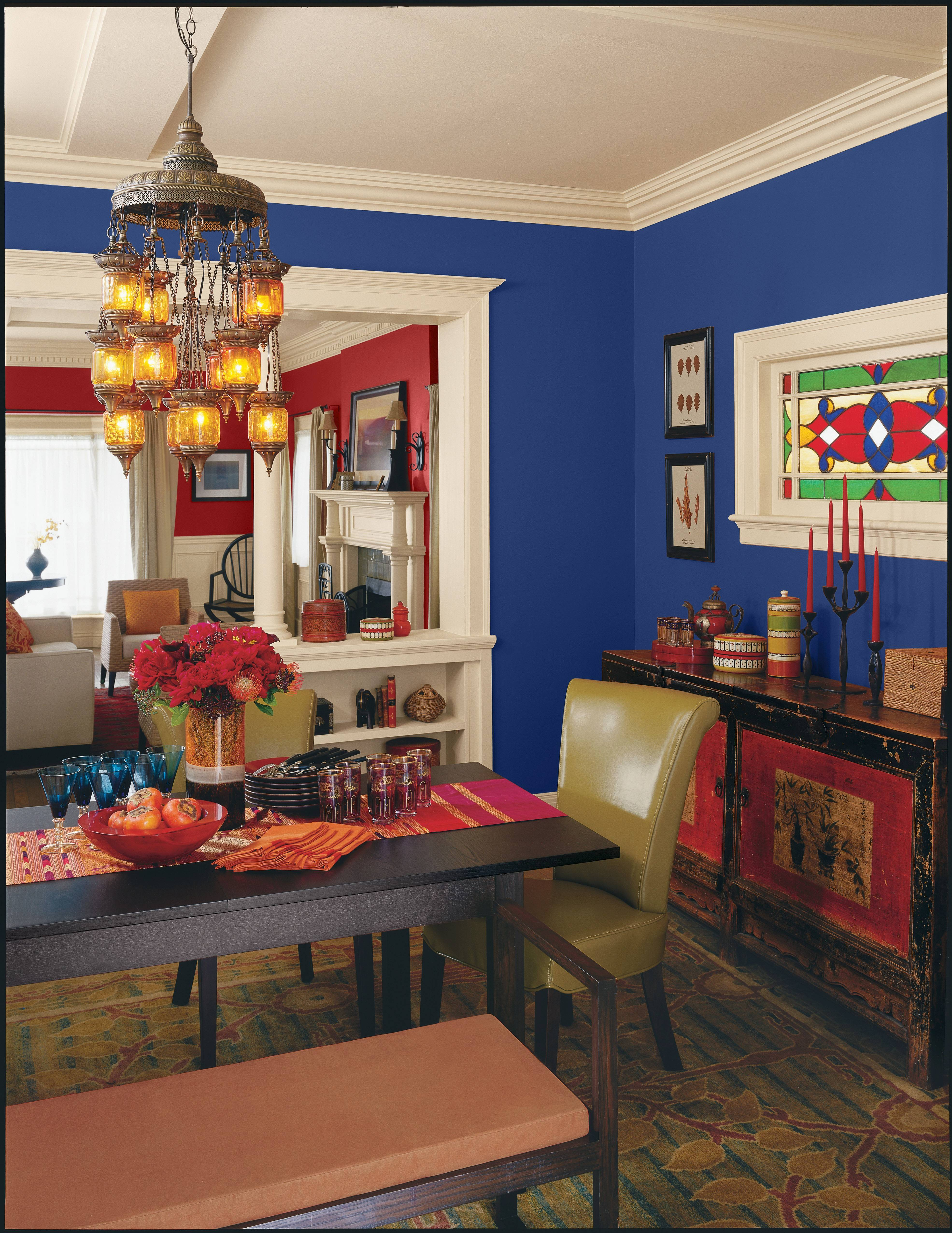 Marsala, a maroonish red color, blends well with other bold colors common in paintings of the Renaissance, like Navy Blue.