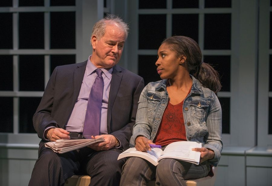 "Investment adviser Ray (Francis Guinan), the titular character in Bruce Graham's ""White Guy on the Bus,"" converses with fellow traveler Shatique (Patrese D. McClain), a single mom visiting her incarcerated brother, in Northlight Theatre's world premiere production."