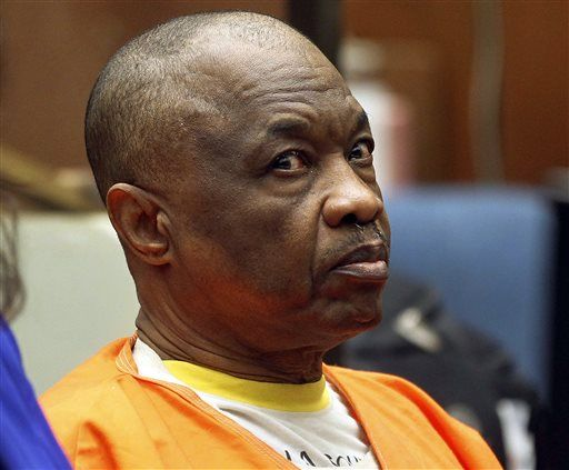 "Lonnie Franklin Jr., who has been charged with 10 counts of murder in what have been dubbed the ""Grim Sleeper"" serial killings that spanned two decades, appears at a court hearing at Los Angeles Superior, on Friday, Feb. 6, 2015. Franklin is scheduled to go on trial at the end of June after anguished family members of the victims told a judge Friday they were tired of years of delay. The 62-year-old is accused of shooting eight of the victims and strangling two of them from 1985 to 2007, the brunt of the crimes during a period when crack cocaine plagued parts of Los Angeles. Police arrested Franklin in July 2010 after his DNA was connected to more than a dozen crime scenes."