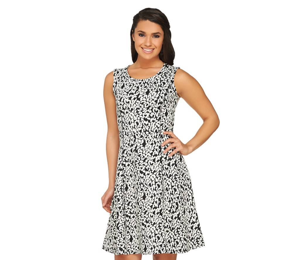 The GK George Kotsiopoulos Printed Jacquard Fit and Flare dress retails for $77.