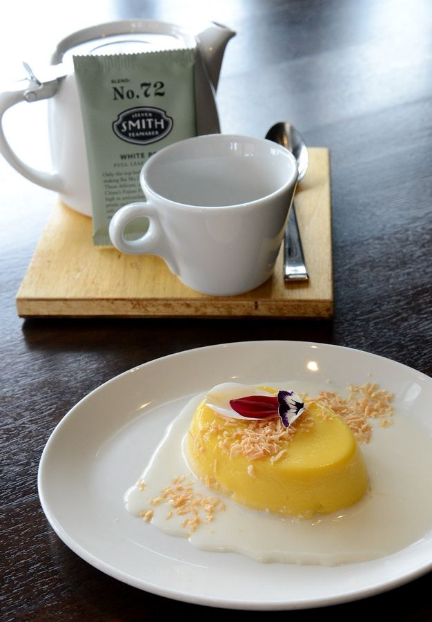 Mango pudding and tea are a perfectly delicious way to wrap up dim sum brunch at e+o Food and Drink in Mount Prospect.