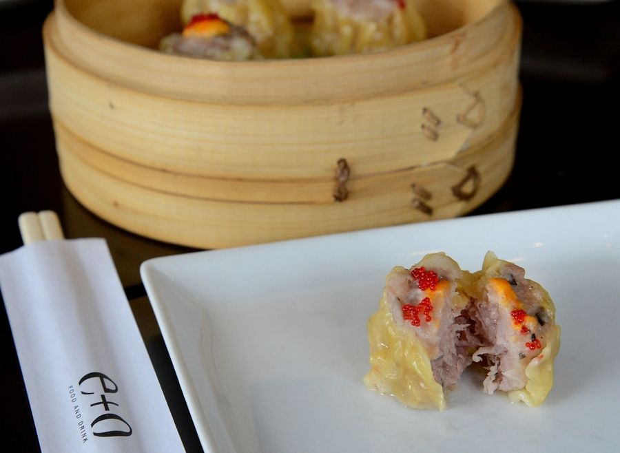 Pork siu mai is among the more traditional dim sum selections at e+o restaurant in Mount Prospect.