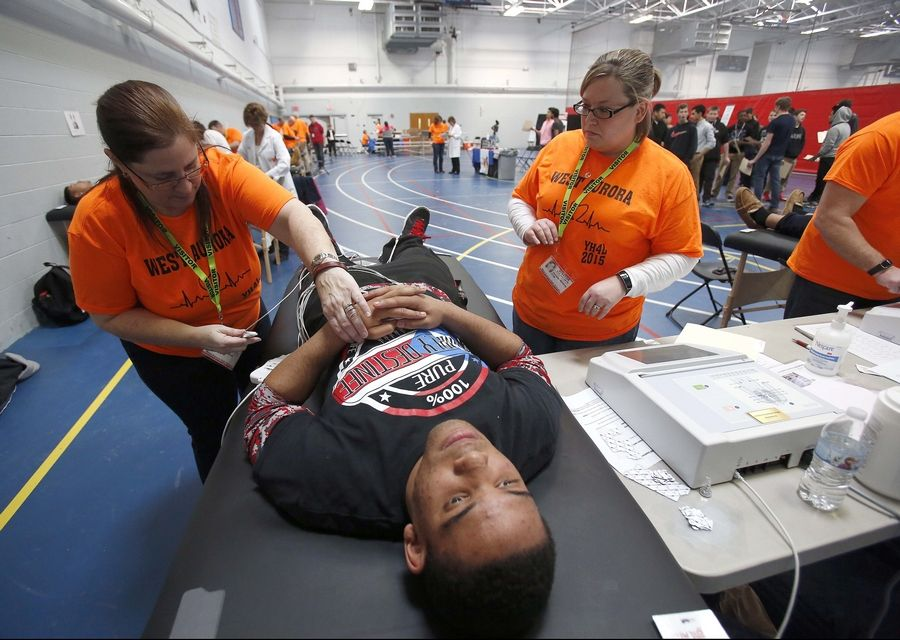 Rashann Ford, 17, a senior at West Aurora High School, was among the more than 2,000 students scheduled to have their hearts tested Thursday and Friday via the Young Hearts for Life Cardiac Screening Program.