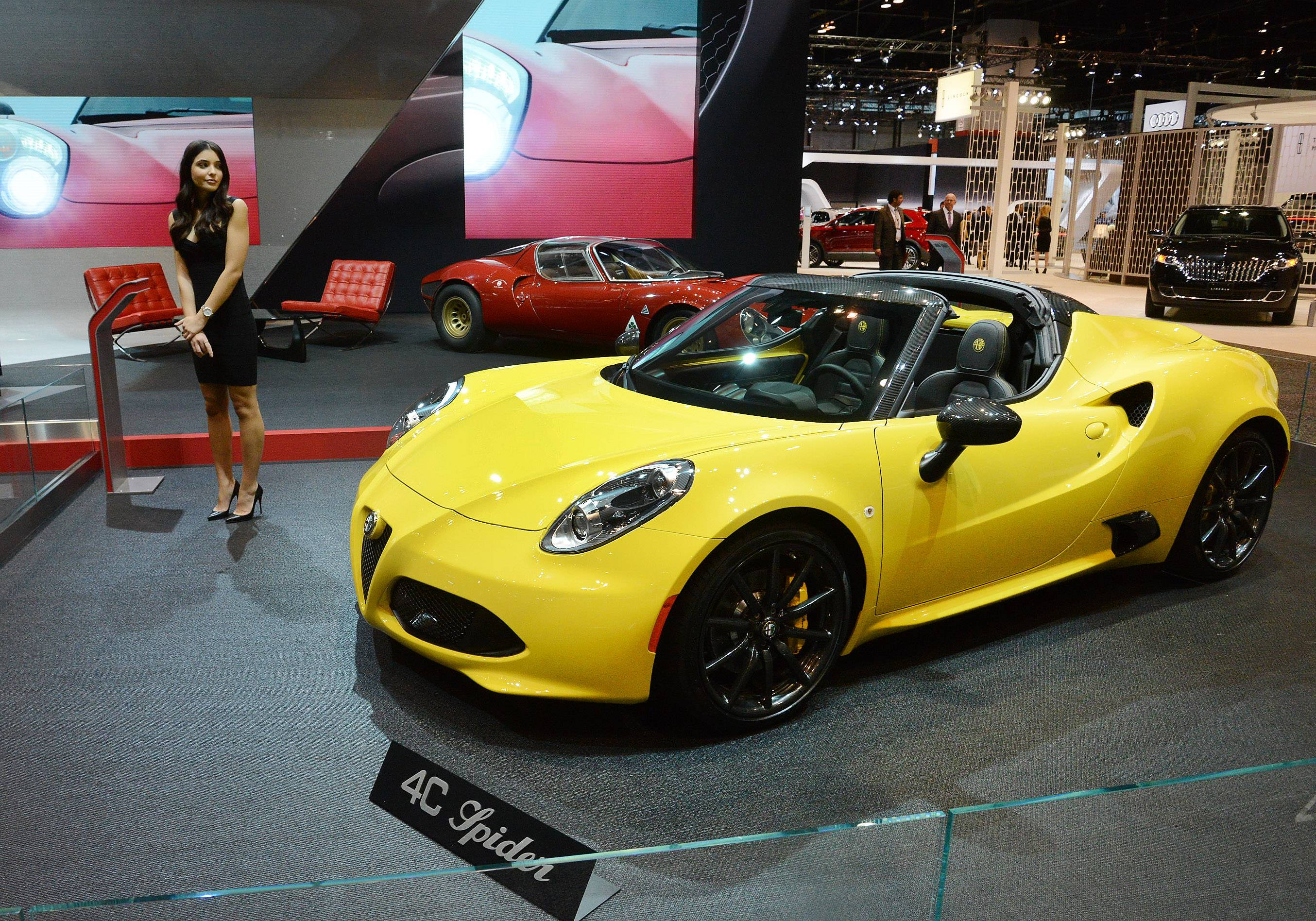 The Alfa Romeo Spider is among the muscle cars at the Chicago Auto Show.