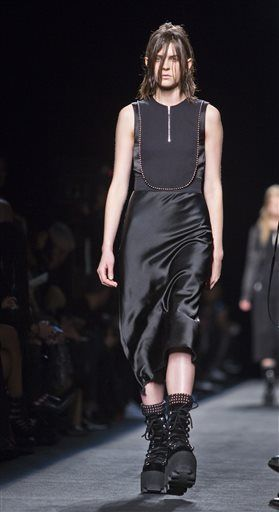 Fashion from Alexander Wang Fall 2015 collection is modeled during Fashion Week on Saturday, Feb. 14, 2015, in New York.