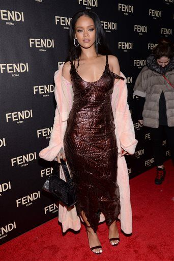 Rihanna attends Fendi's New York Flagship Boutique opening celebration on Friday, Feb. 13, 2015, in New York. (Photo by Evan Agostini/Invision/AP)