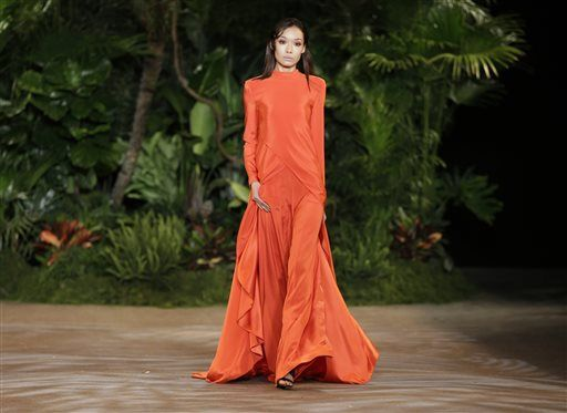 The Christian Siriano Fall 2015 collection is modeled during Fashion Week in New York, Saturday, Feb. 14, 2015.