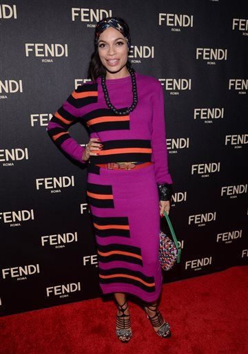 Rosario Dawson attends Fendi's New York Flagship Boutique opening celebration on Friday, Feb. 13, 2015, in New York. (Photo by Evan Agostini/Invision/AP)