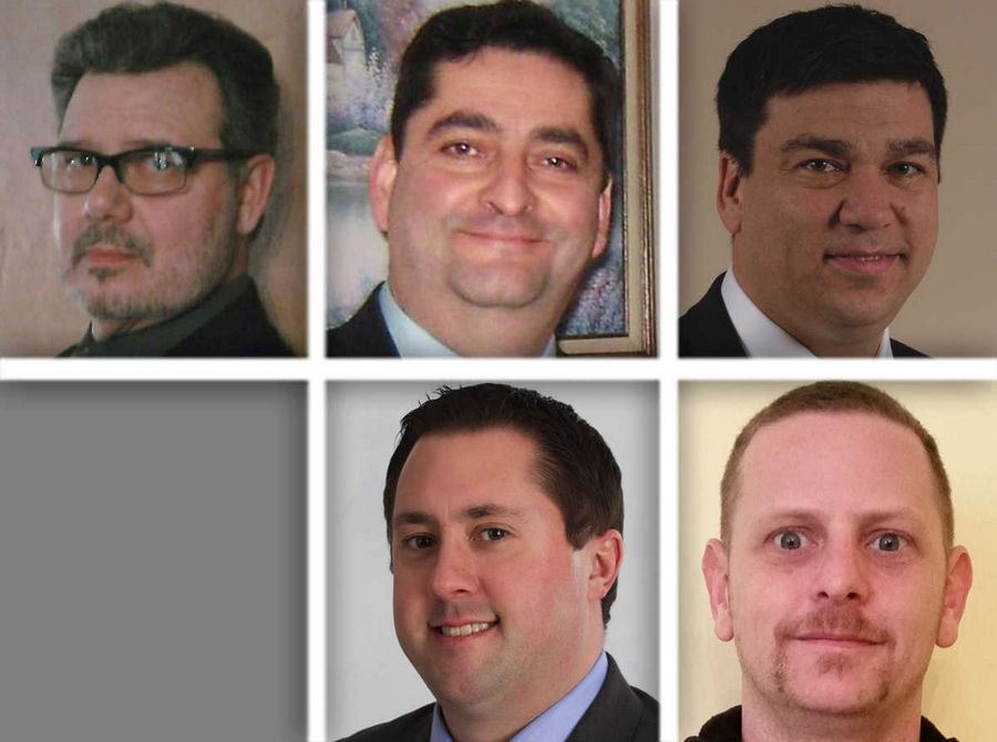 Candidates for the Carpentersville board are, clockwise from upper left, Don Burroway, Humberto Garcia, Paul Humpfer, Christopher Scholl and Jeffrey Sabbe. Sara Miller is not pictured.
