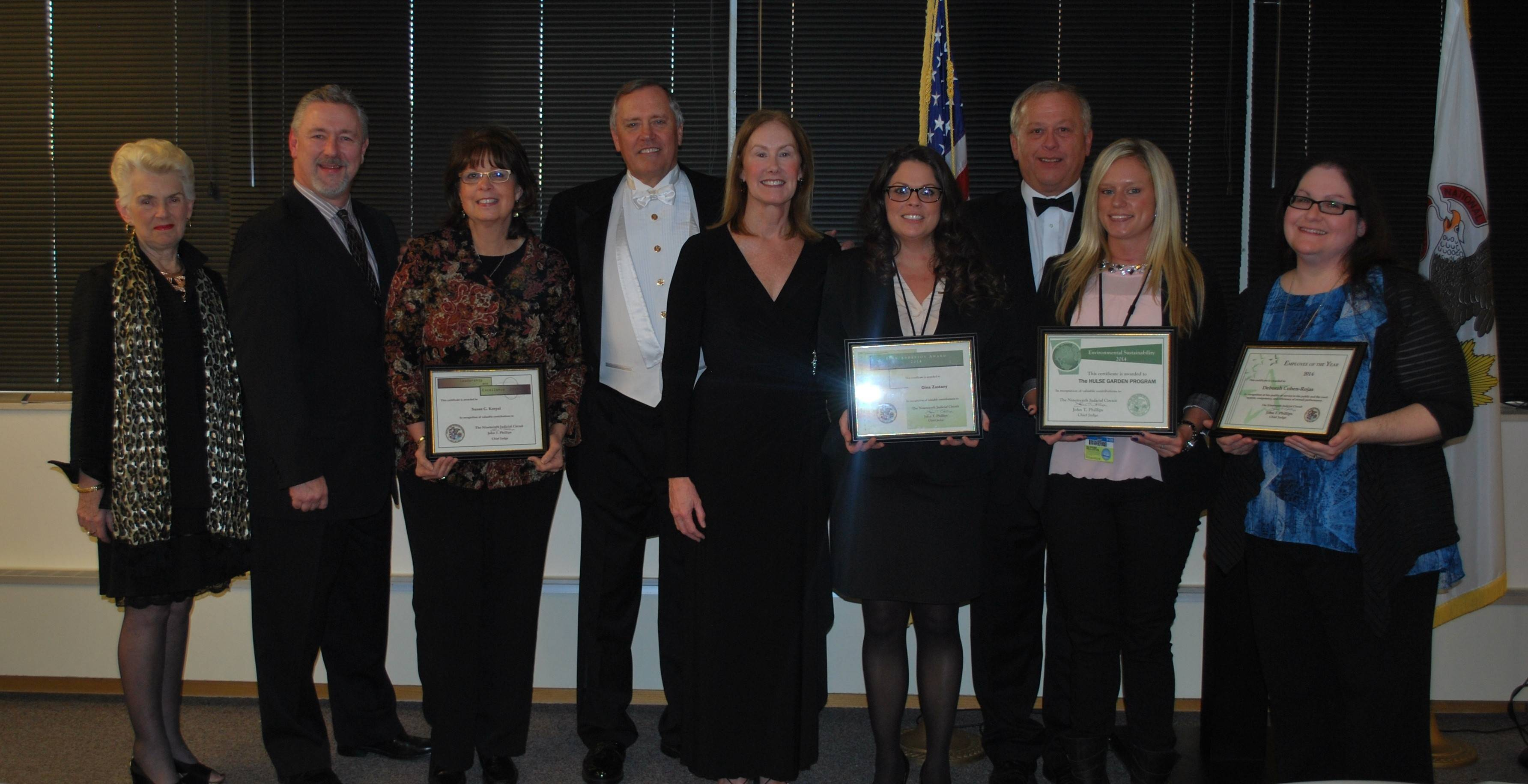 Lake County courts employees honored during the 19th Judicial Circuit's recent awards ceremony included, from left: Diane Flory, Judge Charles D. Johnson, Susan Korpai, Chief Judge John Phillips, Circuit Judge Margaret Mullen, Gina Zastany, Executive Director Robert Zastany, Tracy Sompolski and Deborah Cohen-Rojas.
