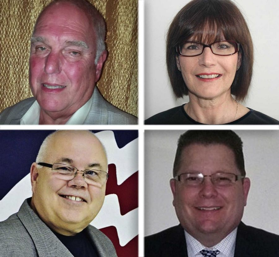 Upper from left, Dennis Crosby and Mary Dominiak and lower from left, Jay Jozwiak and Ed Macek are candidates for Antioch trustee in the 2015 election.