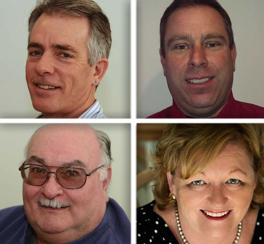 Upper from left, Brian Marr and Jonathan Mumford and lower from left , Greg Murray and Nancy Koske are candidates for  Fox Lake Trustee in the 2015 election.