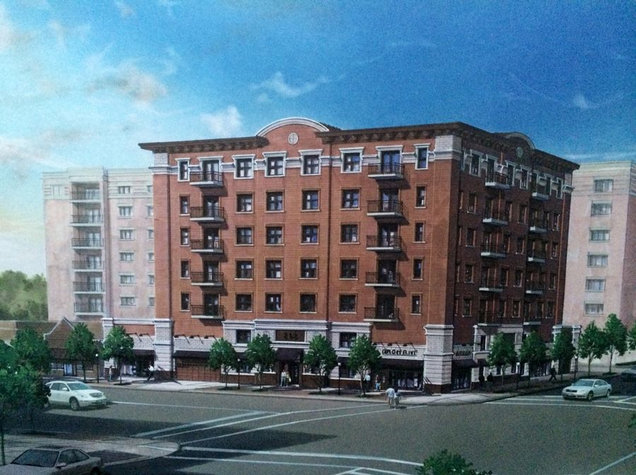 An artist's rendering of the Parkview Apartments planned for downtown Arlington Heights.