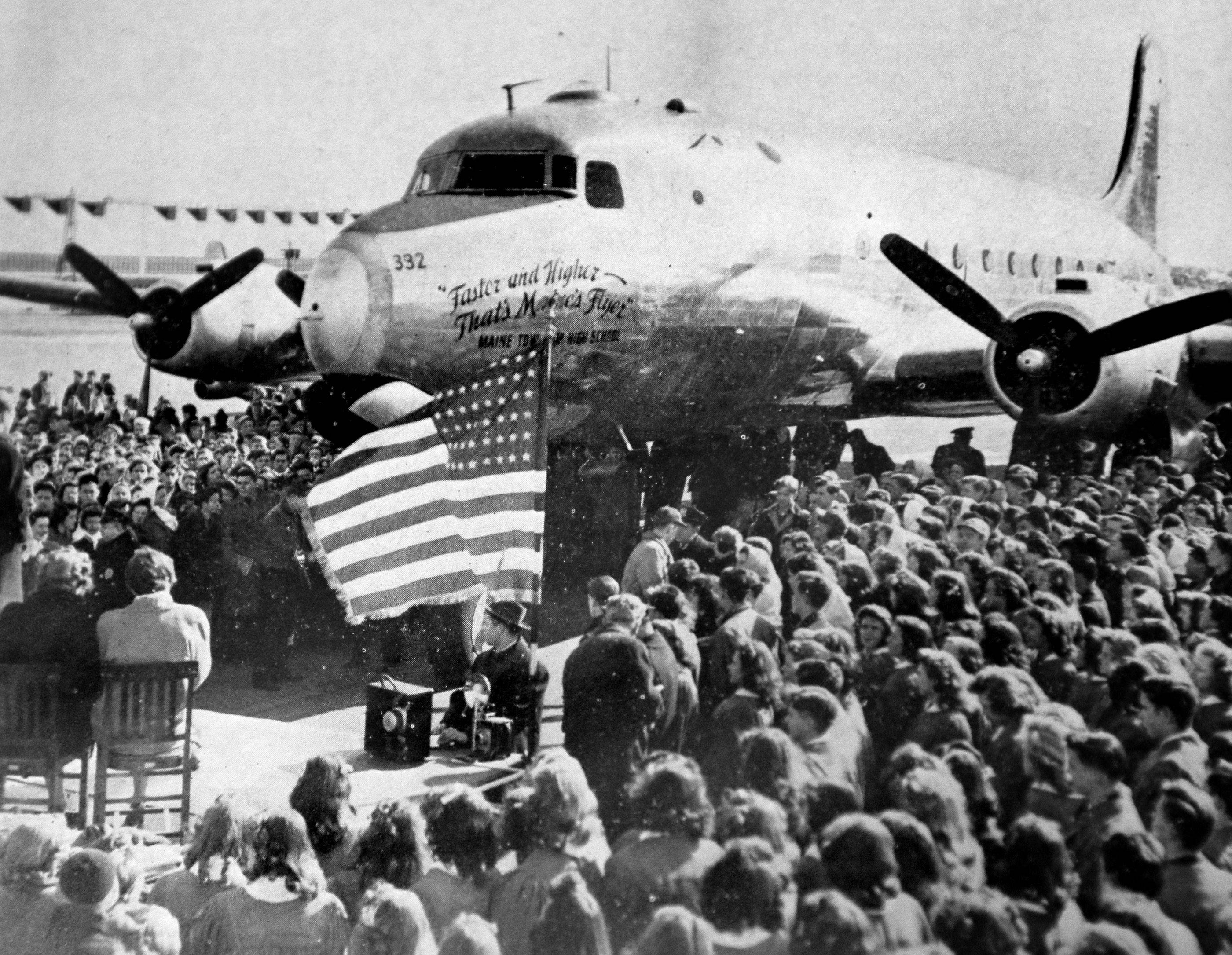A C-54 airplane, named the Maine Flyer, was dedicated in 1945 at Douglas Aircraft Co. in honor of Maine Township High School students who sold more than $551,000 in war bonds in two weeks.