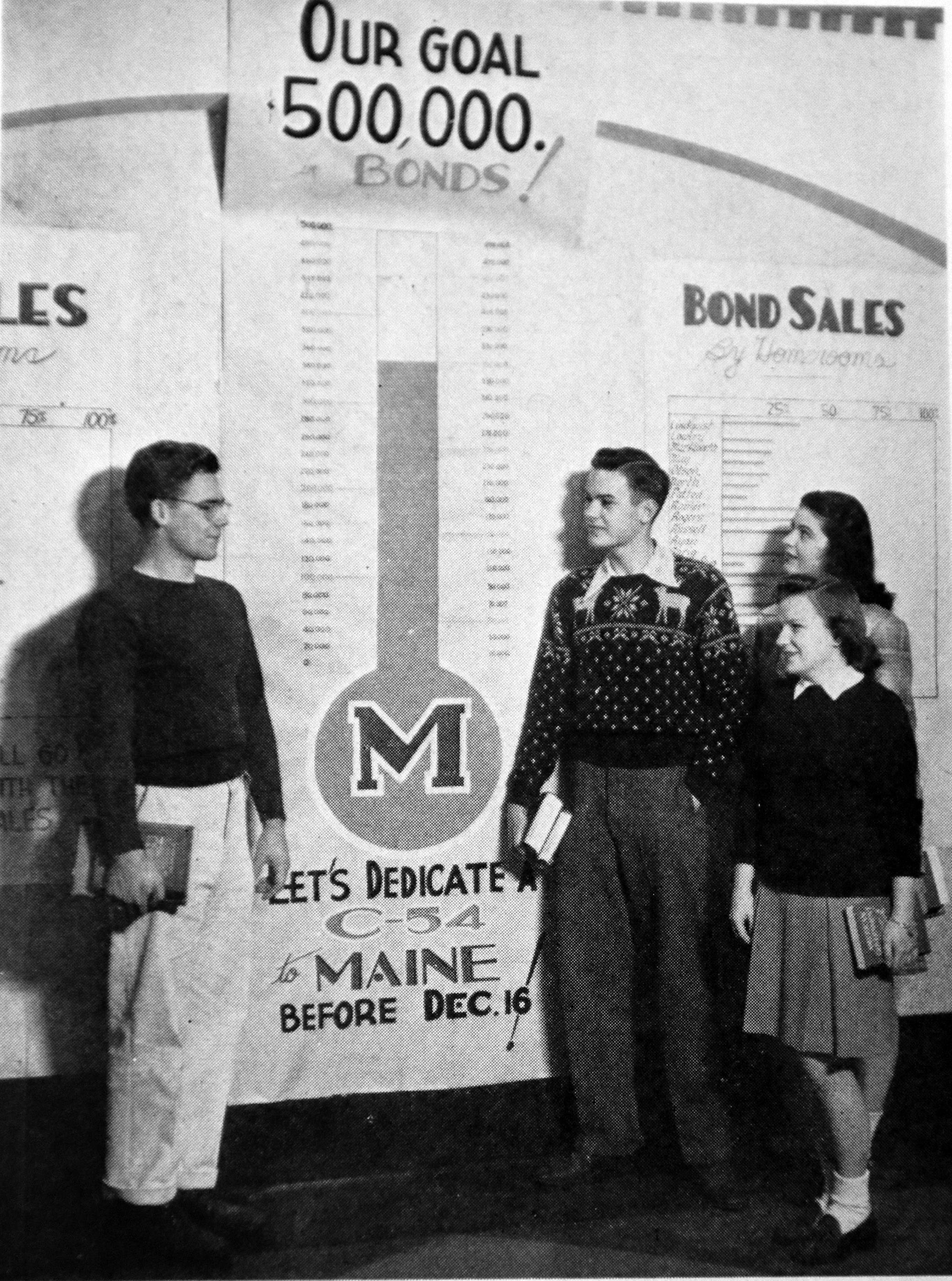 Students at Maine Township High School raised $551,000 during a two-week war bond drive in December 1944. For their efforts, a C-54 airplane was dedicated as the Maine Flyer on Feb. 16, 1945.
