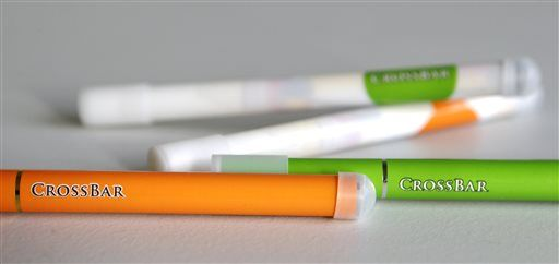 This Thursday, Feb. 12, 2015 photo shows CrossBar brand electronic cigarettes in Cleveland. Jamie Mosley, jail administrator of the Laurel County Correctional Center in London, Ky., developed the CrossBar brand of electronic cigarettes that is sold to many jails around the country. Mosley says the products are designed especially for jails and are made out of soft clear plastic to help prevent inmates from fashioning weapons out of them.
