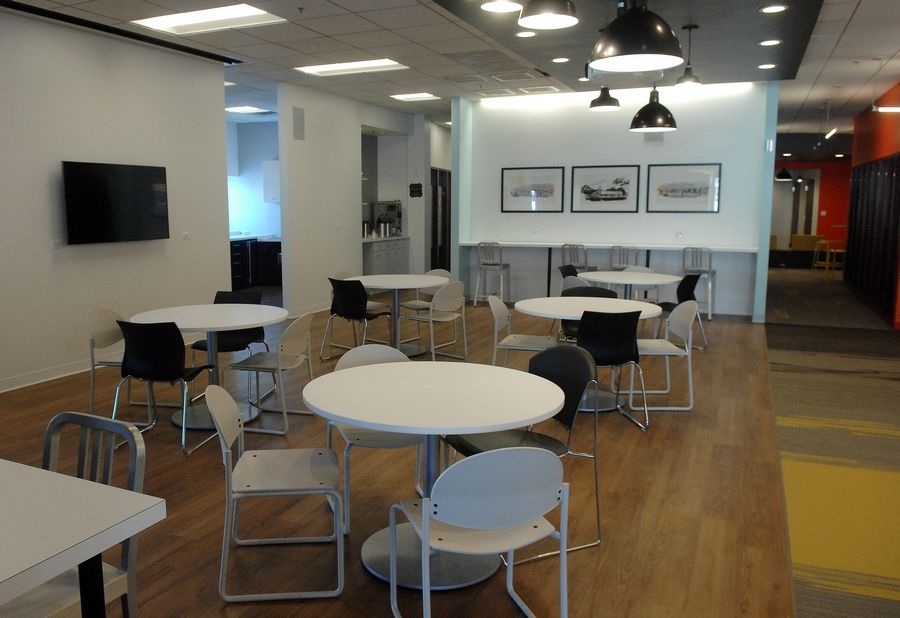 The cafe at the new 25N Coworking in Geneva has space for 28 people to work or meet over coffee.