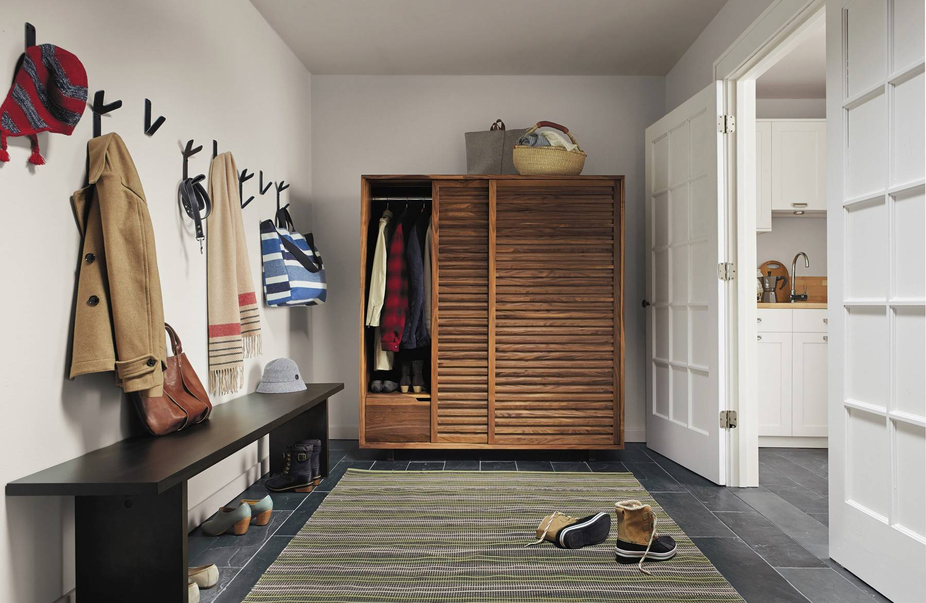 Covered Storage In The Mud Room Is Wonderful. Consider This Modern Armoire  In Rich Wood