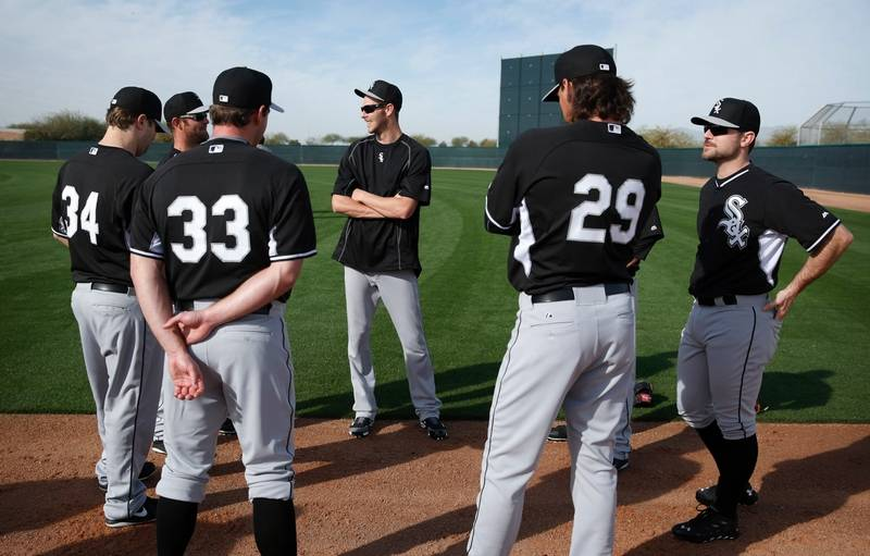 Sale samardzija quintana are star starters for sox white sox pitcher chris sale center speaks with other pitchers including david robertson sciox Choice Image