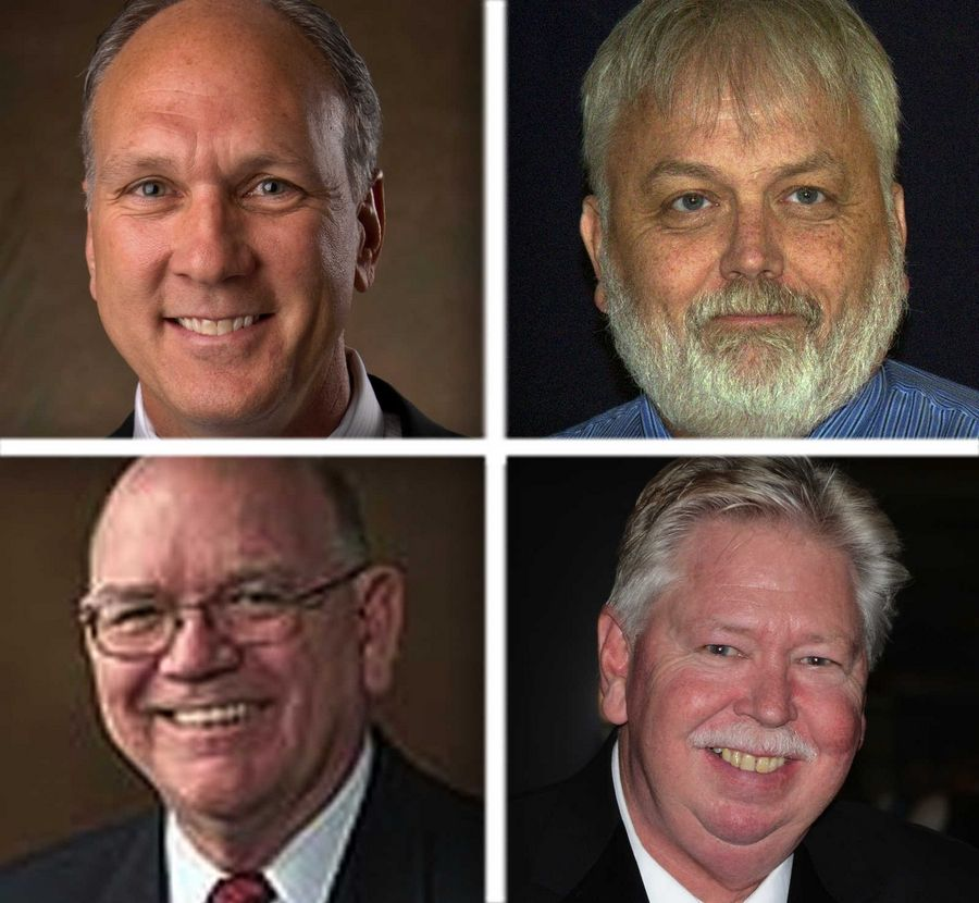 Upper from left,  Steve Chirico and Jim Haselhorst and lower from left ,  Doug Krause and Marty Walker are candidates for Naperville Mayor  in the 2015 election.