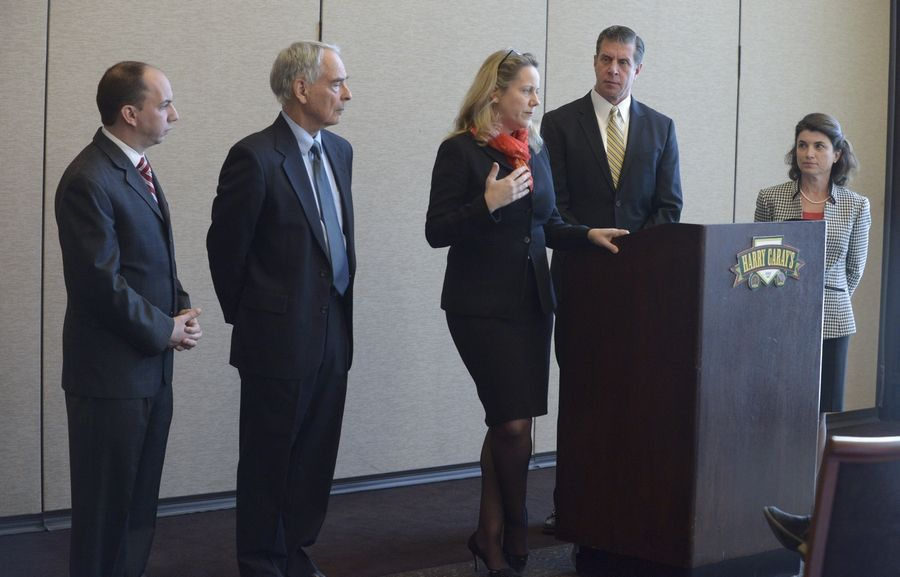 COD candidates Frank Napolitano, Charles Bernstein and Deanne Mazzochi along with campaign chairman Jim Nalepa and COD Trustee Kathy Hamilton, answer questions during a news conference Monday. Hamilton is endorsing the three candidates who are running in the April 7 election as the Clean Slate.