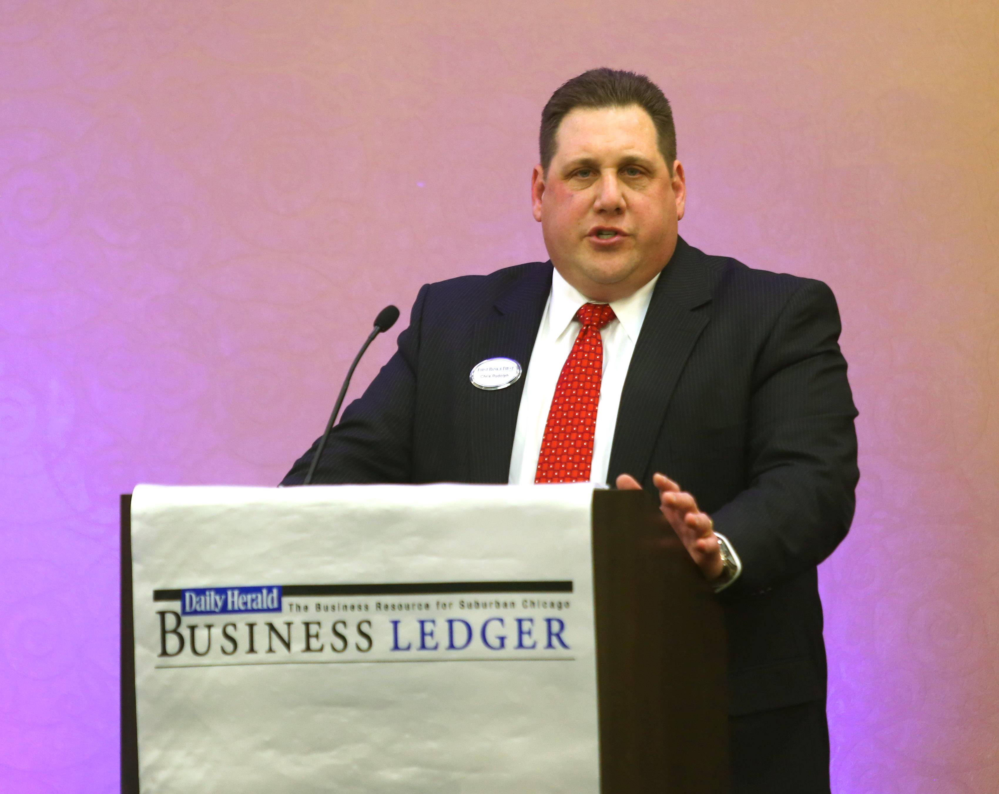 Chris Rudolph, managing director of commercial banking at First Bank & Trust, makes a point during the Daily Herald Business Ledger Newsmakers' Forum on banking and finance Thursday in Downers Grove.