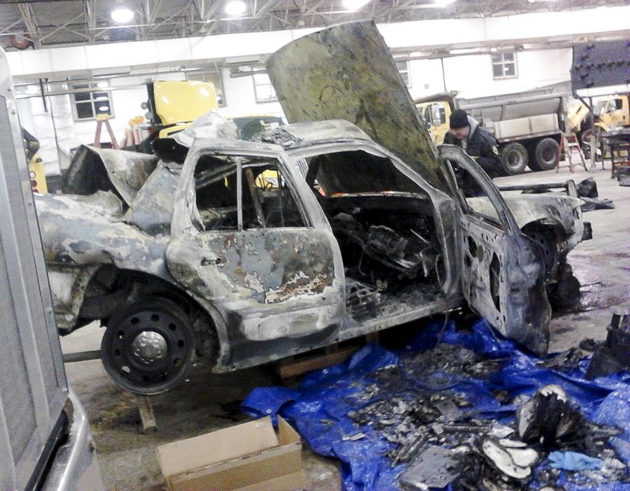 This state police car was engulfed in flames after it was hit by a semitrailer truck on I-88; Trooper Doug Balder suffered 13 broken ribs, a broken left scapula and severe burns over his entire left side. A tollway worker was killed separately.