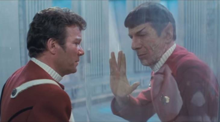 "Perhaps Leonard Nimoy's best work was Spock's death scene from ""Star Trek II,"" here with William Shatner playing Capt. James Kirk. Spock puts the good of the many ahead of the good of the one, saving the Enterprise from destruction at the hands of Ricardo Montalban's supervillain Khan."