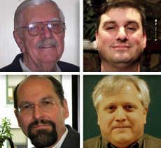 Upper from left, William Grabarek and David Gualdoni and lower, from left , John Krukoff and Michael Rullman are candidates for Elburn Village Board  in the 2015 election.