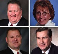 Upper from left, Cary Collins and Anna Newell, and lower from left, Gary Pilafas and Gary Stanton are candidates for Hoffman Estates Village Board in the 2015 election.