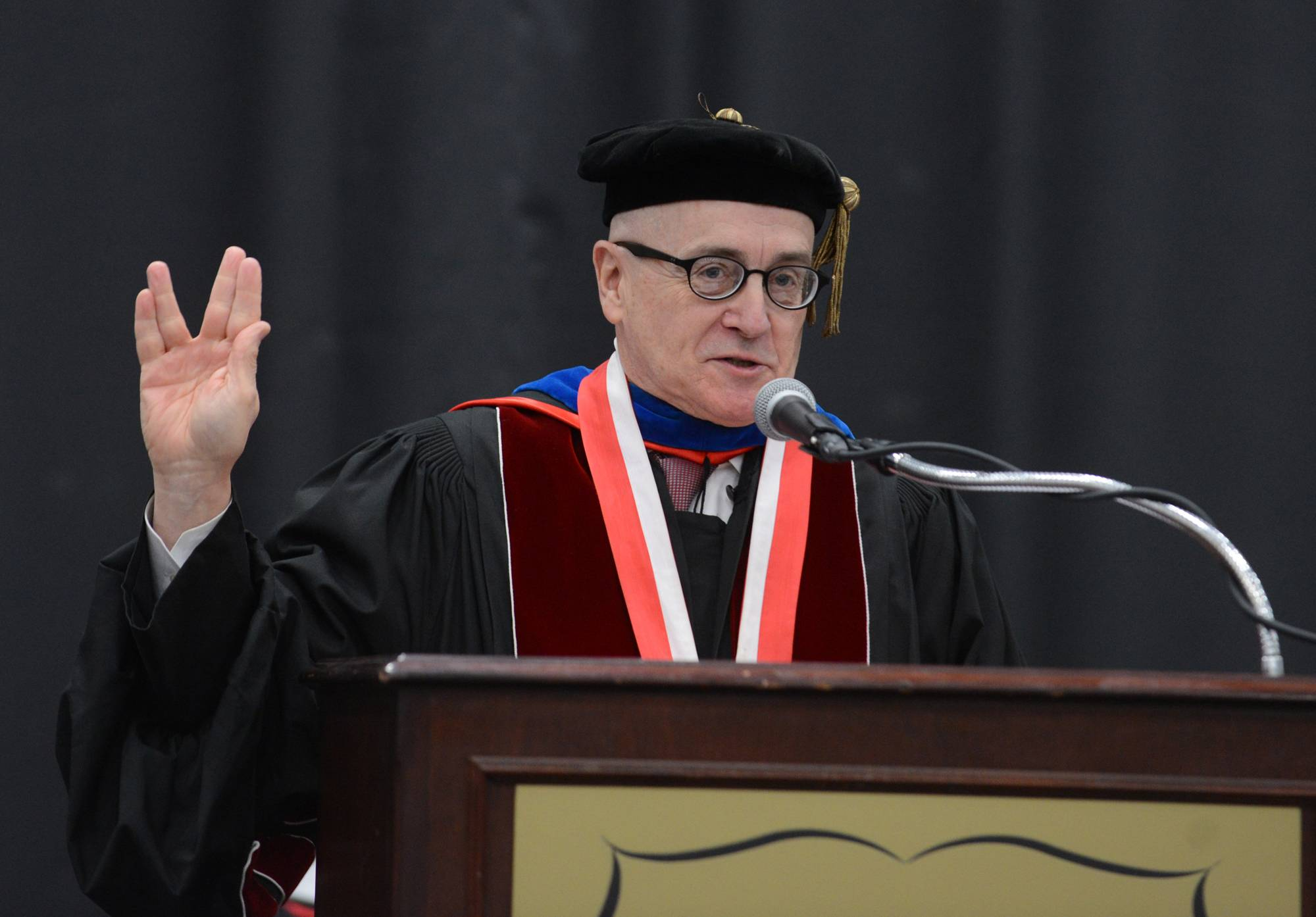 "Benedictine University President William Carroll ends every college graduation ceremony with Mr. Spocks words, ""Live long and prosper."" He's seen saying it here at the December 2014 Benedictine University graduation."