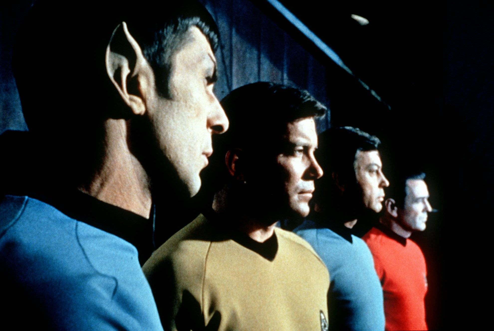 "This undated file photo shows actors in the TV series ""Star Trek,"" from left, Leonard Nimoy as Commander Spock, William Shatner as Captain Kirk, DeForest Kelley as Doctor McCoy and James Doohan as Commander Scott. Nimoy, famous for playing officer Mr. Spock in ""Star Trek,"" died Friday, in Los Angeles."