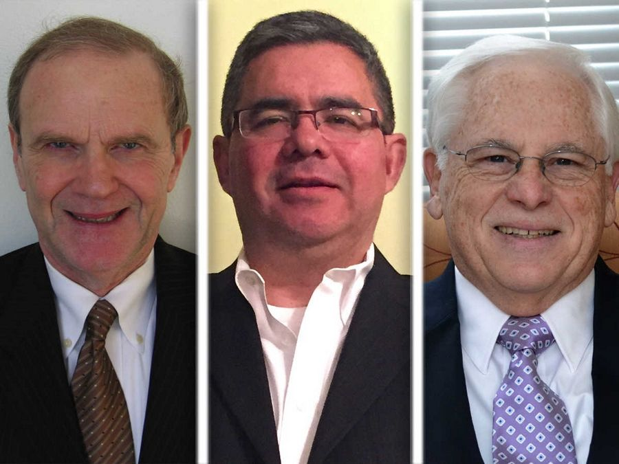From left, Malcolm Chester, Mario Palacios and Herman Zelk are candidates for 6th Ward alderman in Des Plaines.