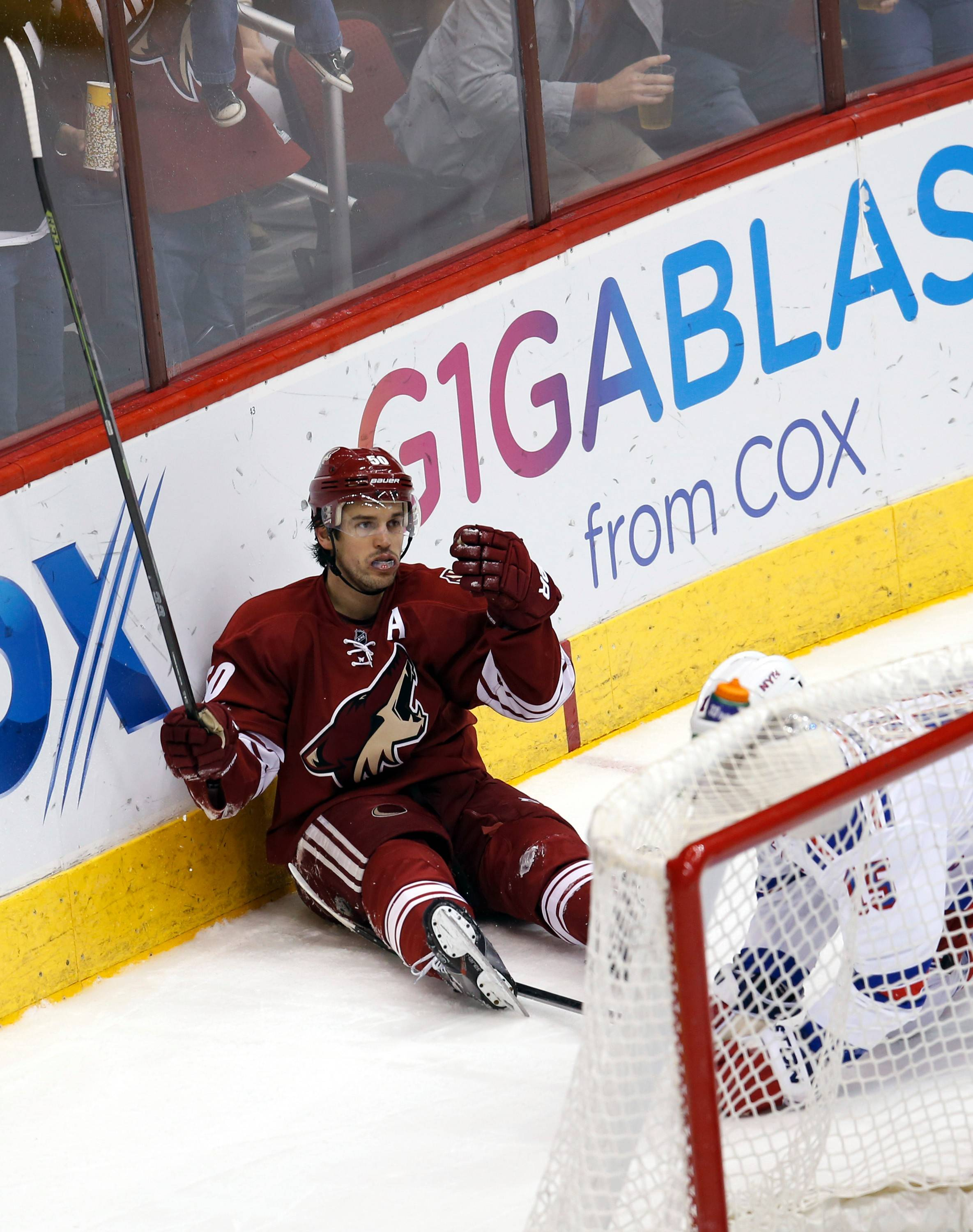 New Blackhawk Antoine Vermette, celebrating a goal for the Coyotes last month, is a No. 2 center who is great on faceoffs, kills penalties and is good on the power play.