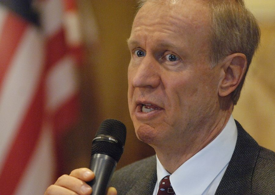 Gov. Bruce Rauner speaks at the Mundelein Vernon Hills Rotary Club meeting Monday at the Dover Straits restaurant in Mundelein.