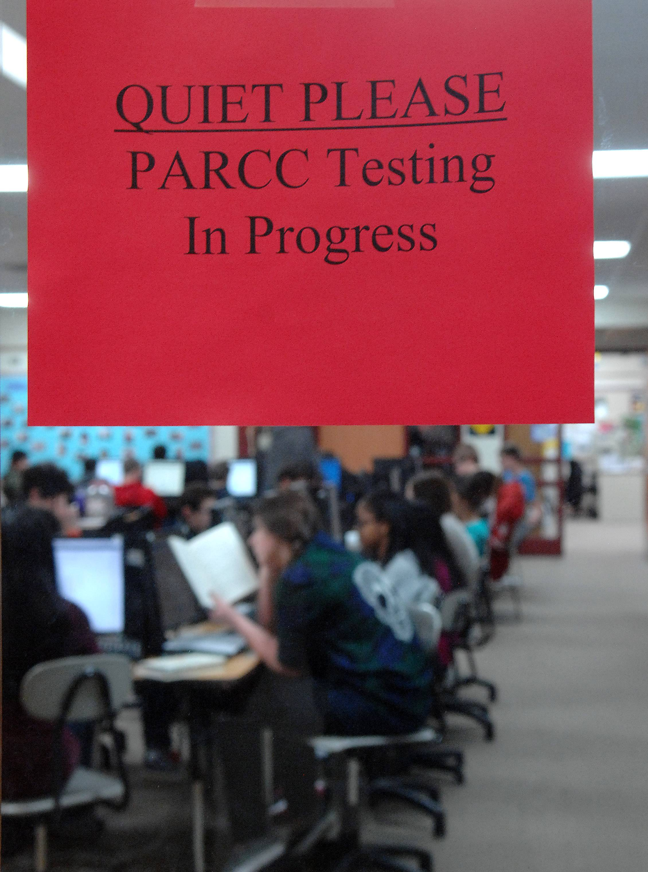 Students at Marlowe Middle School take the state's new standardized test, PARCC, on Tuesday in Lake in the Hills. Huntley Elementary District 158 was among districts that began testing this week. Nearly 1 million students statewide are expected to take the test this spring.